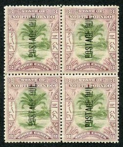 North Borneo SG D27 1901 3c green and dull mauve Post Due perf 14.5-15 block