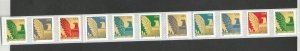 3801  25c Coil Pl# Strip of 11 MNH F/VF Centering