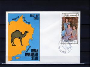 Oman Immamate State 1980 Queen Mother 80th.Birthday S/S 1R FDC