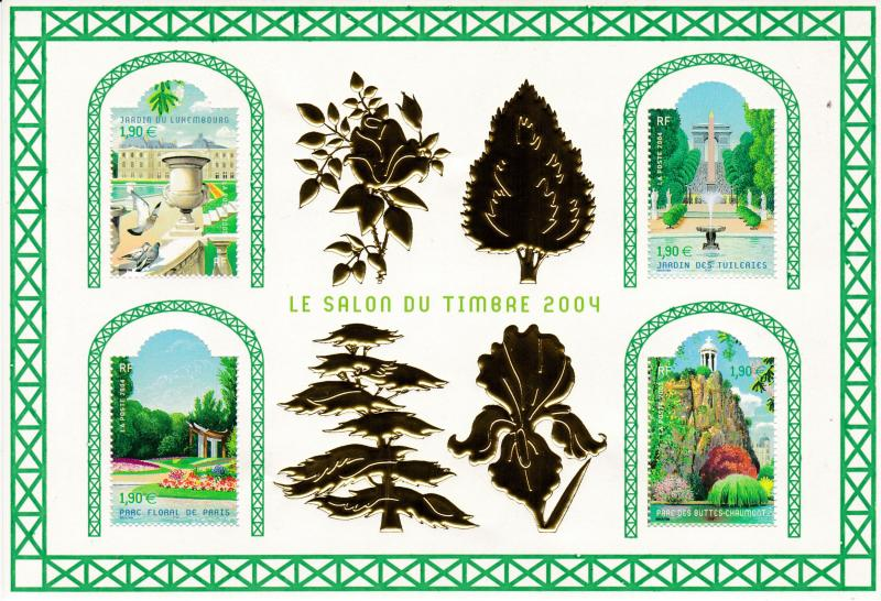 France 2004 Salon du Timbre 2004 Sheet TREES Parks & Gardens  VF/NH
