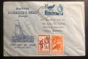 1957 Sibu Sarawak First Day Cover FDC Locally Used Monarch Head Stamps