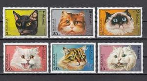 Manama MNH 585-90 Domestic Cats 1971 MEOW!!! MEOW!!!