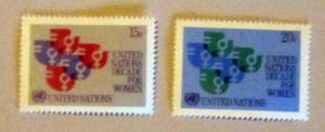 UN, NY - 318-19, MNH Set. Women's Year Emblem. SCV - $0.55
