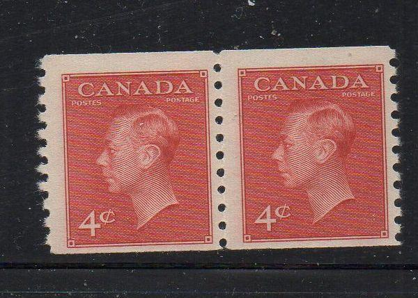 Canada Sc 300 1950 4 c George VI coil pair mint NH