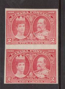 Canada #98ii Mint Imperf Pair