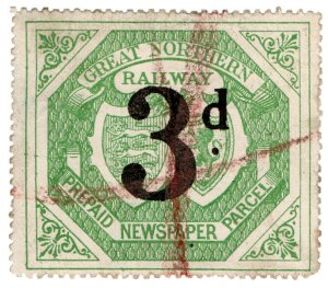 (I.B) Great Northern Railway : Newspaper Parcel 3d (large format)