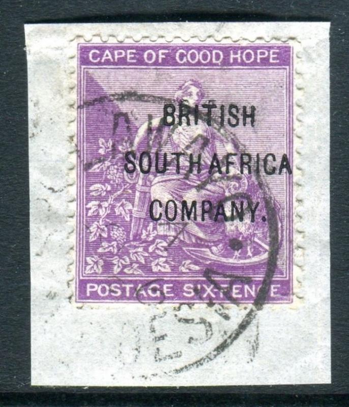 RHODESIA-1896 6d Deep Purple.  A very fine used example on piece Sg 63