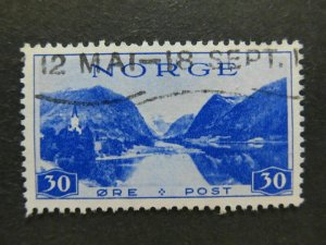 A5P29F73 Norway 1938 Wmk Post Horn 30o used