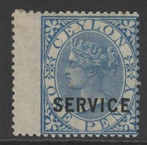 CEYLON SGO6 1869 1d BLUE MTD MINT