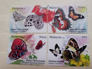 MALAYSIA 2008 BUTTERFLIES OF MALAYSIA IN FINE MINT CONDITION