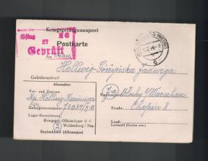 1944 Poland Germany Oflag 2C Prisoner of War POW Camp Woldenberg DualReply Cover