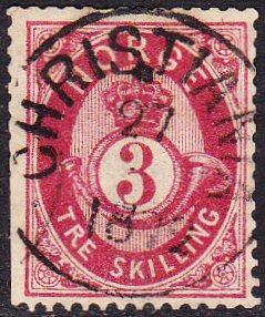 Norway #18 used w CHRISTIANIA 1872 pmk