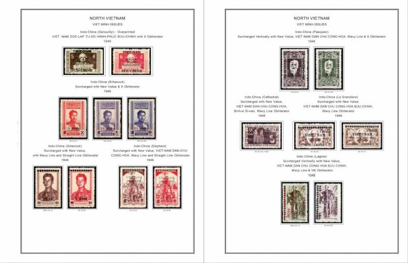 COLOR PRINTED VIET MINH 1946-1948 STAMP ALBUM PAGES (8 illustrated pages)