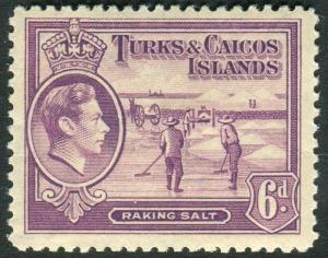 TURKS & CAICOS ISLANDS-1935-45 6d Mauve Sg 201 MOUNTED MINT V14439