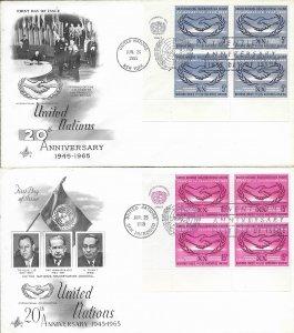 1965 FDC, #143-144 (NY), UN 20th Anniversary, Art Craft