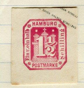 GERMANY; HAMBURG 1870s early classic Postal Stationary Piece