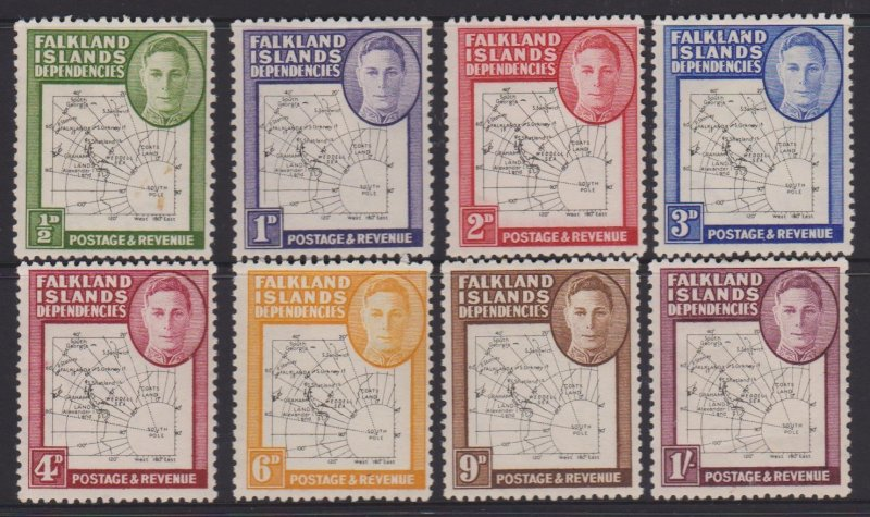 Falkland Islands Dependencies Sc#1L1-1L8 MH Reissue Map Thin and Clear