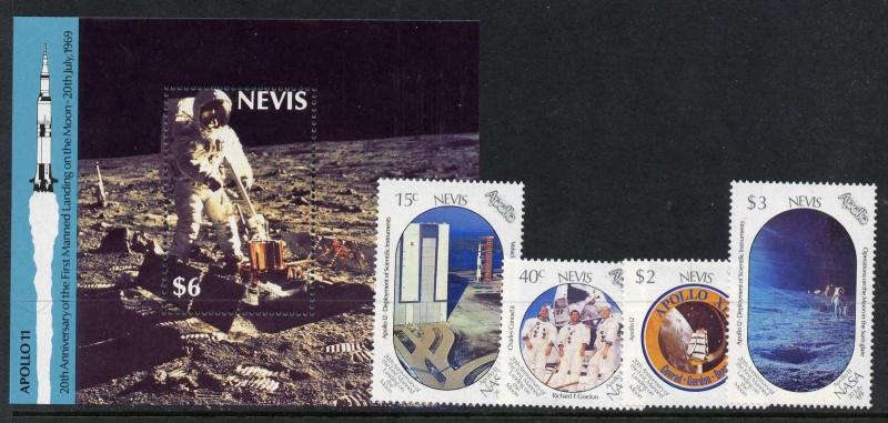 Nevis 586-90 MNH - Space, Apollo 11, Moon Landing