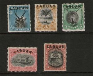 Malaya S. Setts. Labuan 1901 Sc 50-54 MH (51 smell thin)