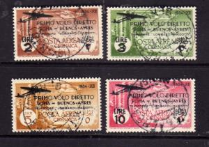 CIRENAICA 1934 POSTA AEREA AIR MAIL ROMA-BUENOS AIRES SERIE COMPLETA COMPLETE...