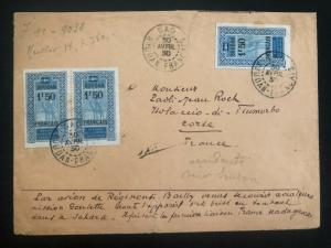 1930 Gao French sudan First Flight Airmail cover FFC to Corse France