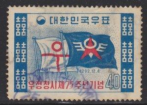 South Korea, Scott 297, Old Postal Flag and New Communications Flag