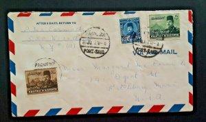1921 Port Said Egypt To Fitchburg Massachusetts Airmail Cover
