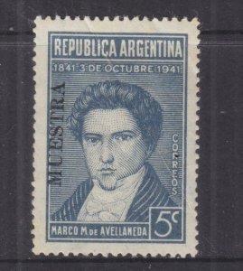 ARGENTINA, 1941 Avellaneda 5c., MUESTRA, lhm., crease..