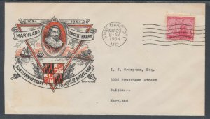 US Planty 736-1 FDC. 1934 3c Maryland Tercentenary, R.F. Young Cachet
