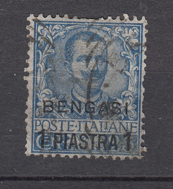 J28518 1901 italian italy office in africa bengasi  used #1 ovpt,s king $160.00