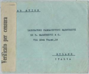 77545 - GREECE  - Postal History -  COVER  to  ITALY  1941 ---  CENSURE TAPE