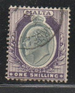 Malta Sc 27 1903 1/  violet & gray Edward VII stamp used