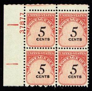 US STAMP #J93 – 1959 5c Rotary Press PL# BLK OF 4 MNH/OG