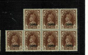 India- chamba state - 1942-47 - sg no 100 blk of 6 very high cv 500 gbp + lmm