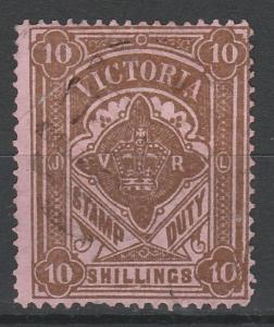 VICTORIA 1884 CROWN STAMP DUTY 10/- POSTALLY USED