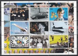 Niger, 1998 Cinderella issue. 1960-1969. Events of 20th Century sheet of 9. ^