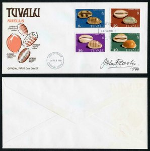Tuvalu 1979 SHELL set On FDC Signed by the designer John Cooter