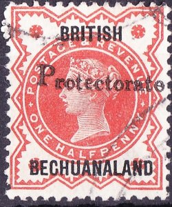 BRITISH BECHUANALAND 1890 QV GB 1/2d Vermillion with 'Protectorate' SG54 FU