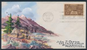 #972 ON FDC CACHET BY A.O. HENRY HANDPAINTED INDIAN DESIGNS BU2755
