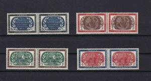 LUXEMBOURG 1955 U.N. ANNIVERSARY MNH STAMPS PAIRSSET   CAT £40  REF 4896