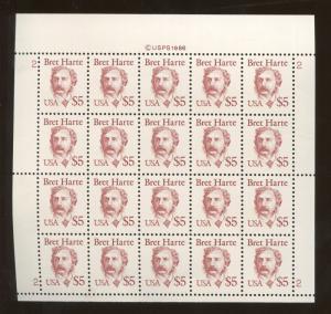 Full Sheet of 20 American Short Story Writer Bret Harte US Stamps #2196b