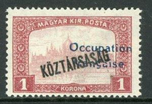 Hungary 1919 French Occupation 1K Koztarsasg Sc #1N36 Mint M51 ⭐⭐