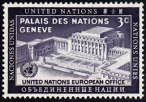 United Nations # 27 hinged ~ 3¢ UN European Office, Geneva