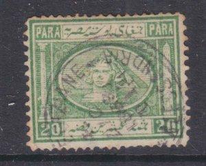 EGYPT, 1869 20pa. Yellowish Green, used.