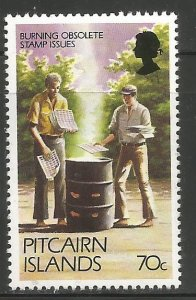 PITCAIRN ISLANDS 171A MNH, BURNING OBSOLETE STAMP ISSUES