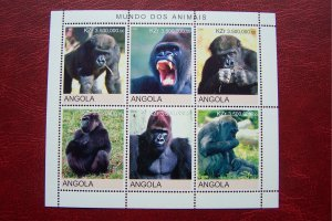 Angola 2000 MNH Fauna Animals Gorillas Wild Life