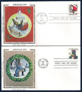 UNITED STATES FDCs (2) 13¢ Christmas 1977 Colorano