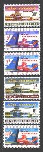 Kinshasa. 1963. 145-50. Airport, airplanes. MNH.