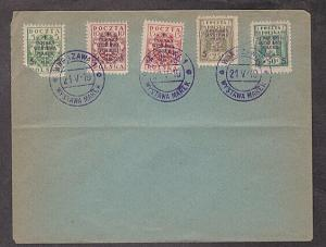 Poland - 1919 cover with Scott #B1-5 semipostal stamps