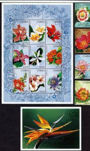 Zambia 1998 Flowers 4 Stamp Sheet + 9 Stamp Sheet + S/S 26A-009